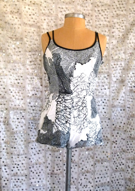 1950s WIld And Tree Sirena Swimsuit Black and White Tree Print; Betty Page Bathing Suit; One Piece; 50s One Piece; Swim Wear; Boy Shorts