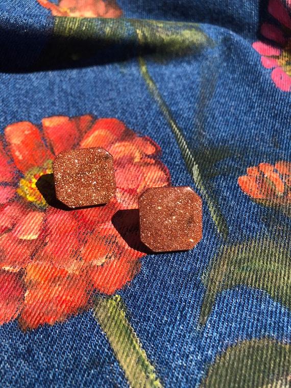 Glittery Bronze Stud Earrings