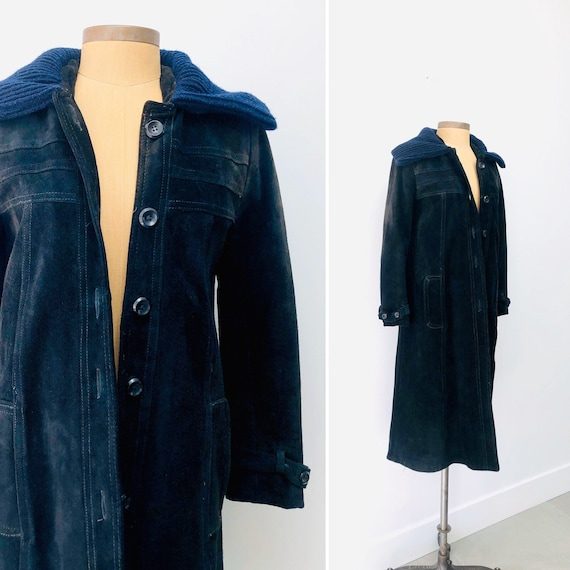 90s Suede Jacket •Knit collar• size 4/6