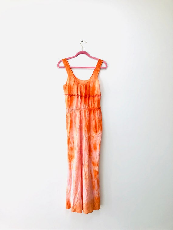 70s Tie Dye Silk Dress•medium•