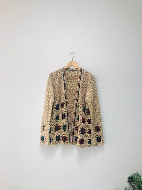70s Grandma Square Cardigan -Crochet