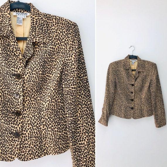 90s Silk Cheetahlicious Blouse • small•