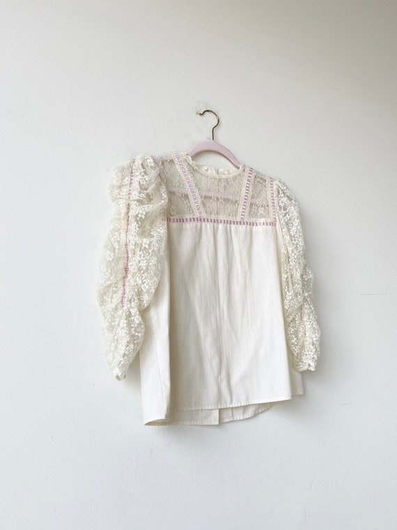 70s victorian lace blouse•4/6•