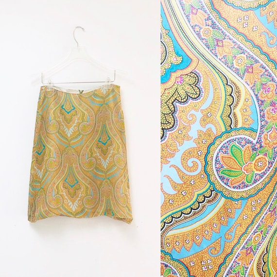 90s Burberry Paisley Silk Skirt