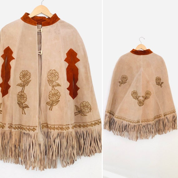 70s Suede Fringe & Tooled Floral Mexican Poncho