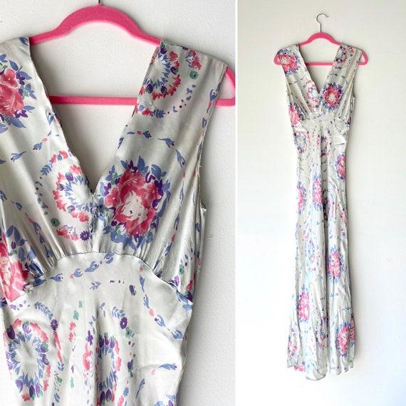 40 floral silk slip dress • small•