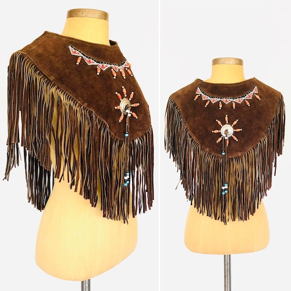 80s Suede Fringe Poncho Top