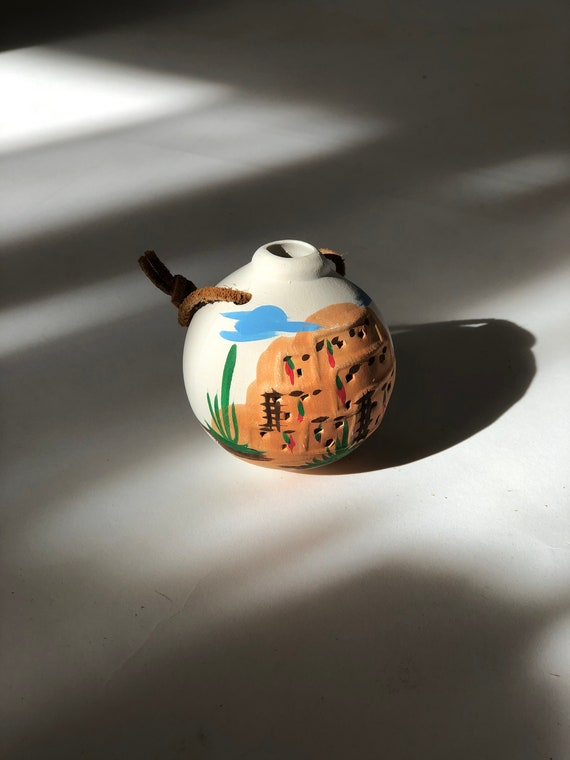 90s Santa Fe Ornament •Hand painted • Native American