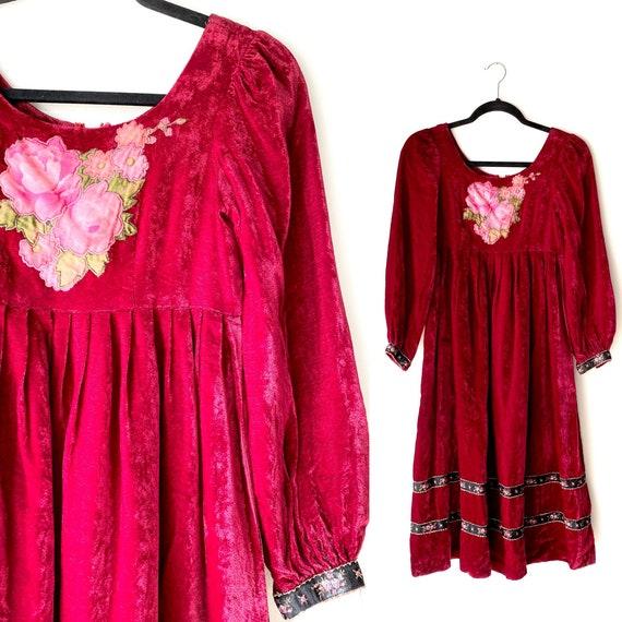 70s Stevie nicks dress•xsmall• velvet