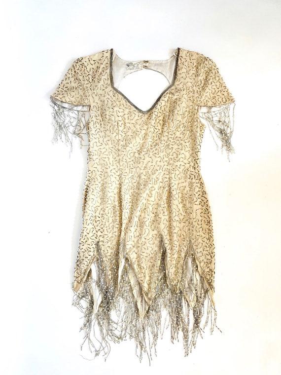 80s Tina Turner Dress • Fully Beaded• Fringe• MEdium•