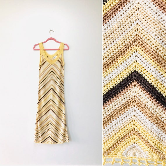 90s Oscar by Oscar De La Renta Crochet Dress•small•