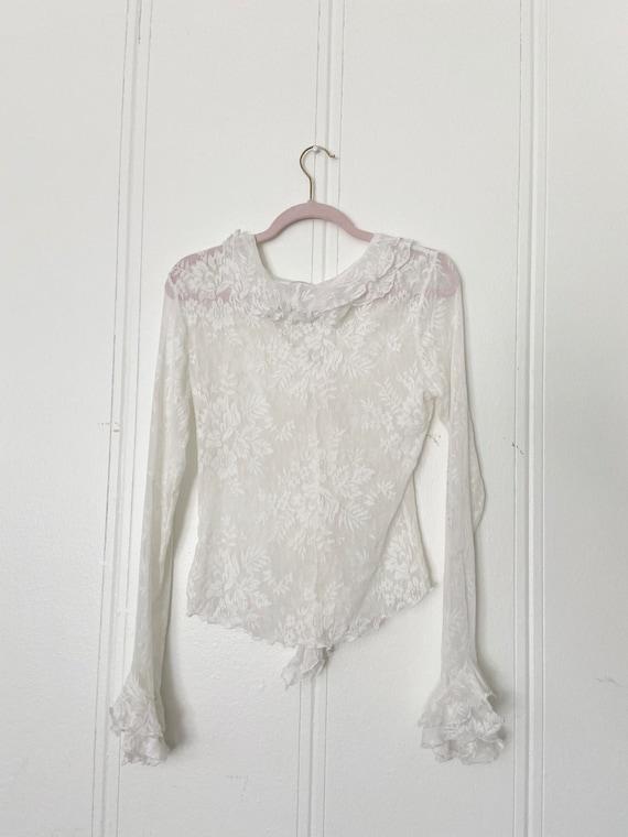 90s lace ruffled blouse •m/l• - image 2