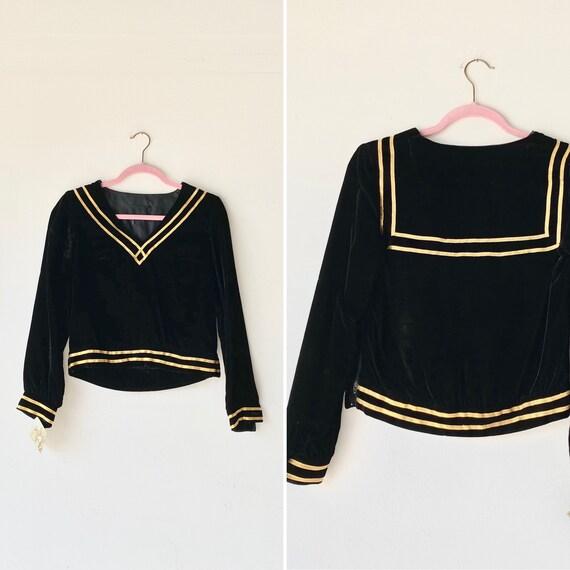 60s velvet sailor blouse •small•