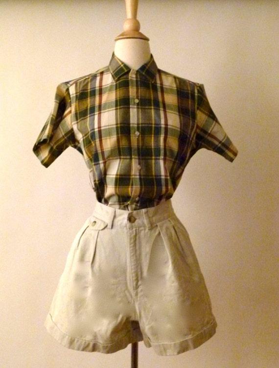 Vintage Happy Camper Plaid Sears Button Up - Unisex