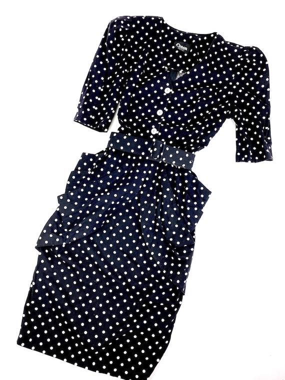 80s Puffed Sleeve Polka dot Midi•8• pockets