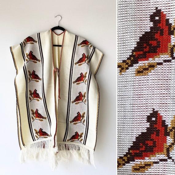 1970s cardinal Poncho• knit•
