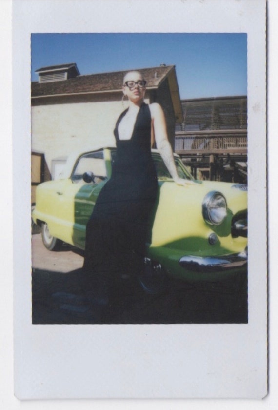 90s carole little knit dress •medium• halter• plun