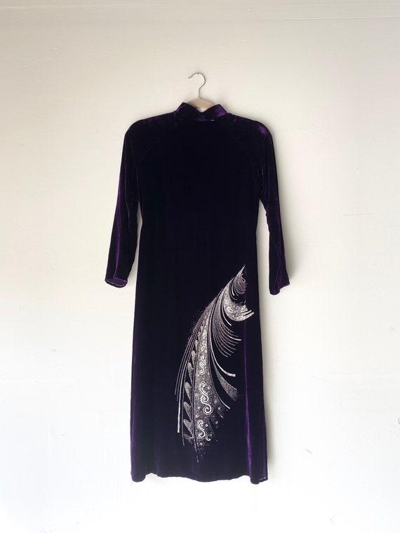90s velvet Qipao / Cheongsam Dress• small• - image 3