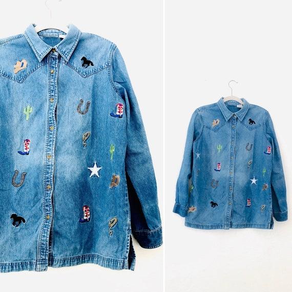 90s Embroidered Desert Denim Button Up•mEdium•