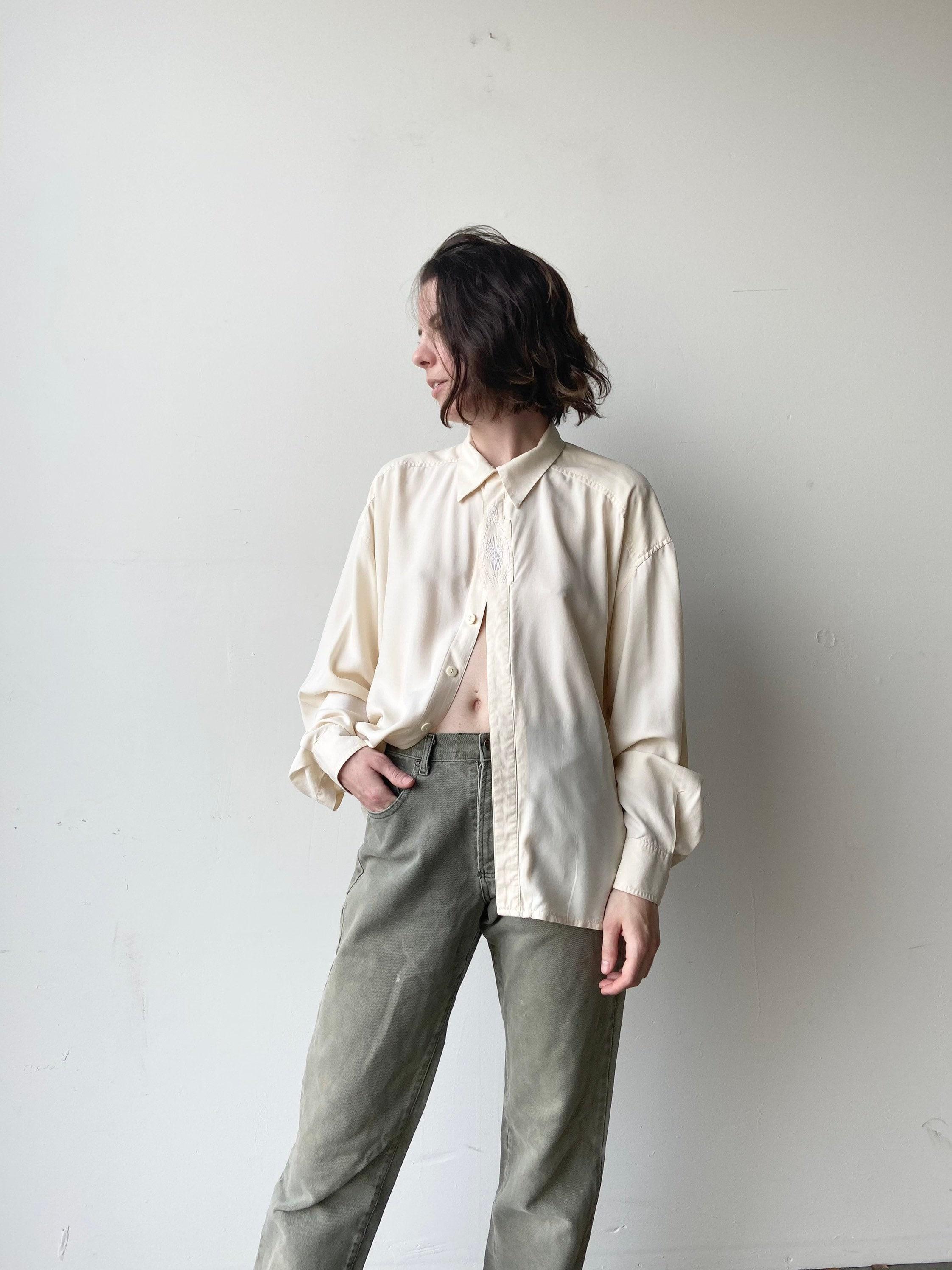 1970s Mens Shirt Styles – Vintage 70s Shirts for Guys 70S Silk Dress Shirt  Large $30.00 AT vintagedancer.com