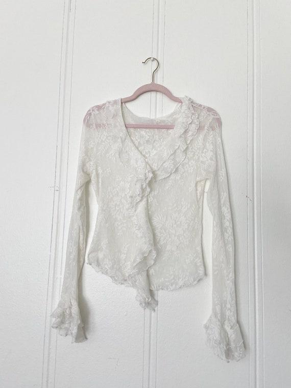 90s lace ruffled blouse •m/l• - image 1