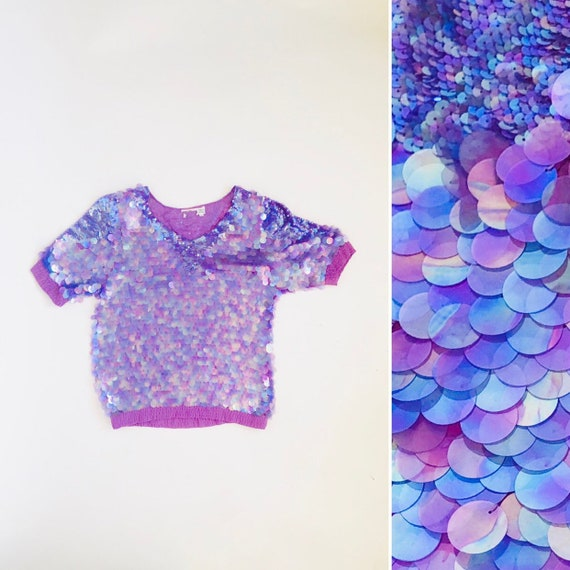 80s Mermaid Scale Blouse