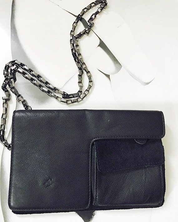 90s Leather and Suede Chain Crossbody