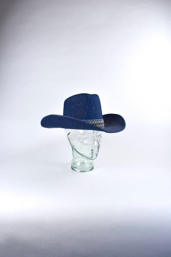 70s Denim Cowboy Hat Wide Brim•med 7 1/8•