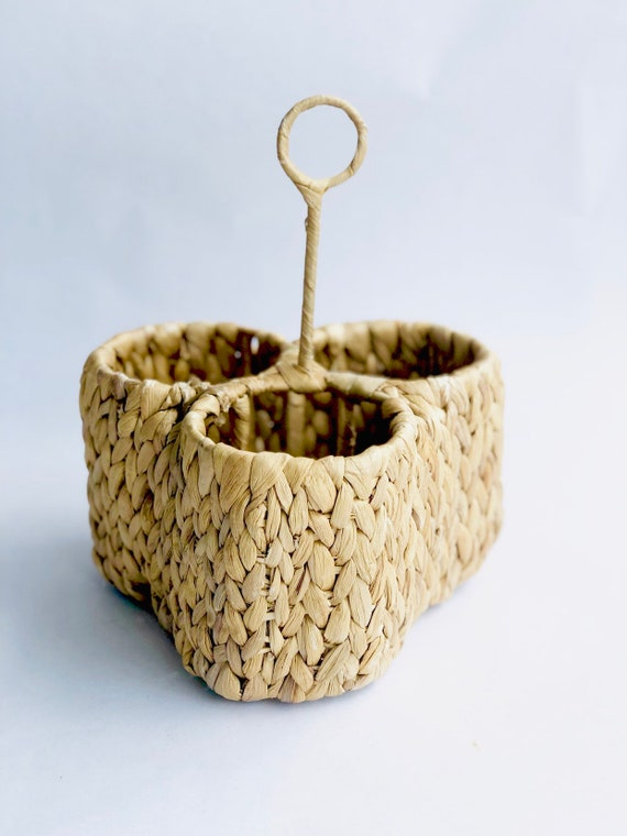 Vtg Rattan Plant/Wine Caddy