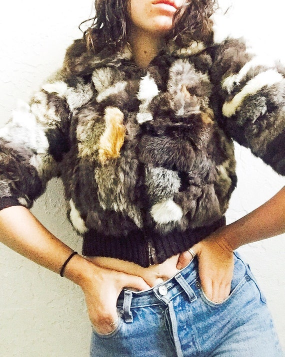 70s Patchwork Fur Cropped Jacket