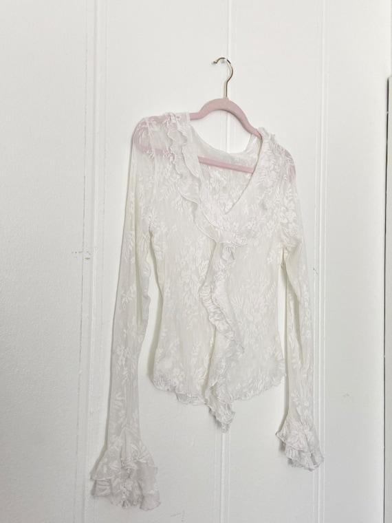 90s lace ruffled blouse •m/l• - image 4