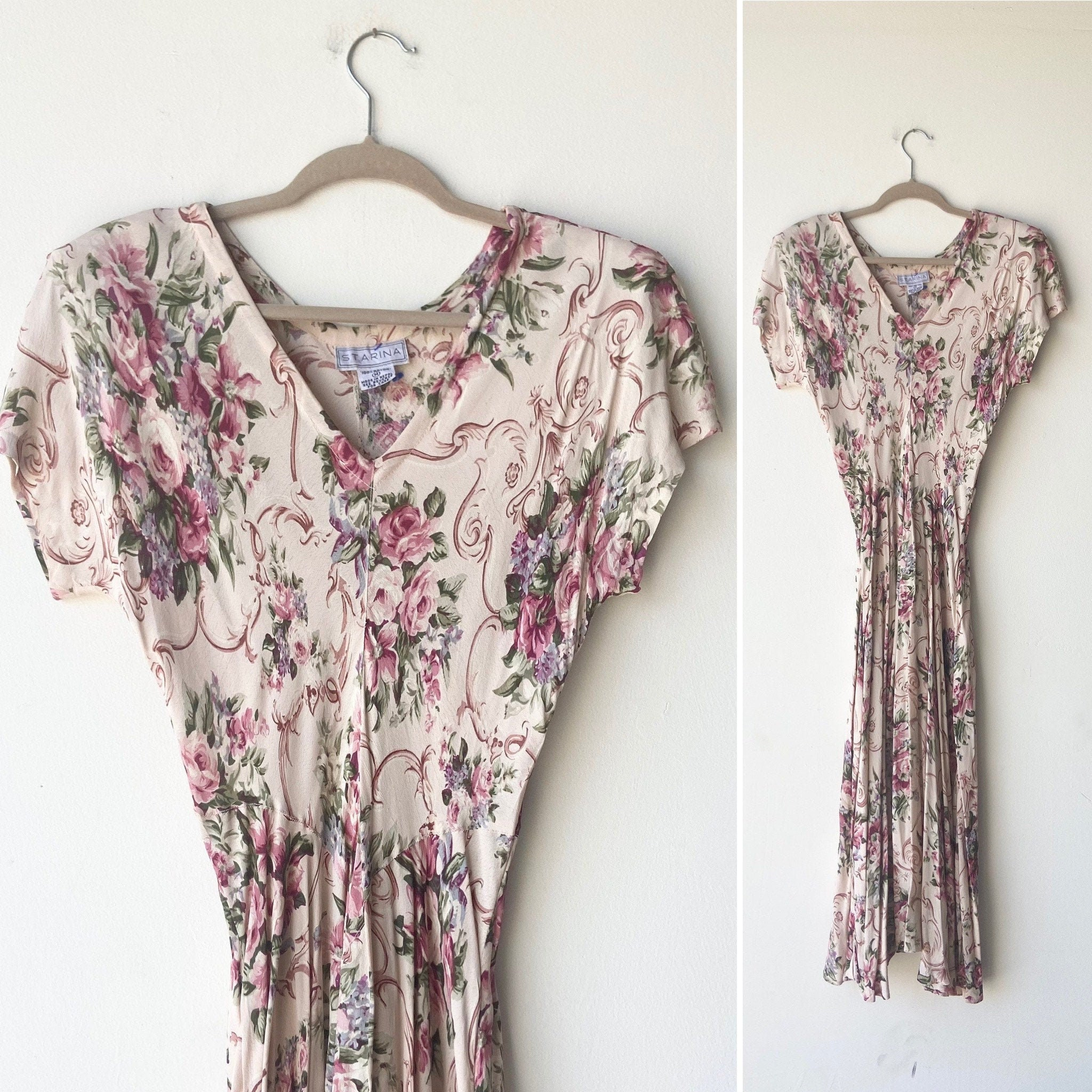80s Dresses | Casual to Party Dresses 80S Floral Rayon Dress  Made in India Medium $30.00 AT vintagedancer.com