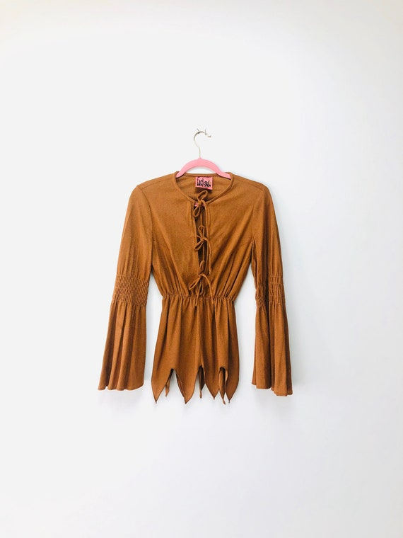 70s Scarecrow Blouse •small• bell sleeves