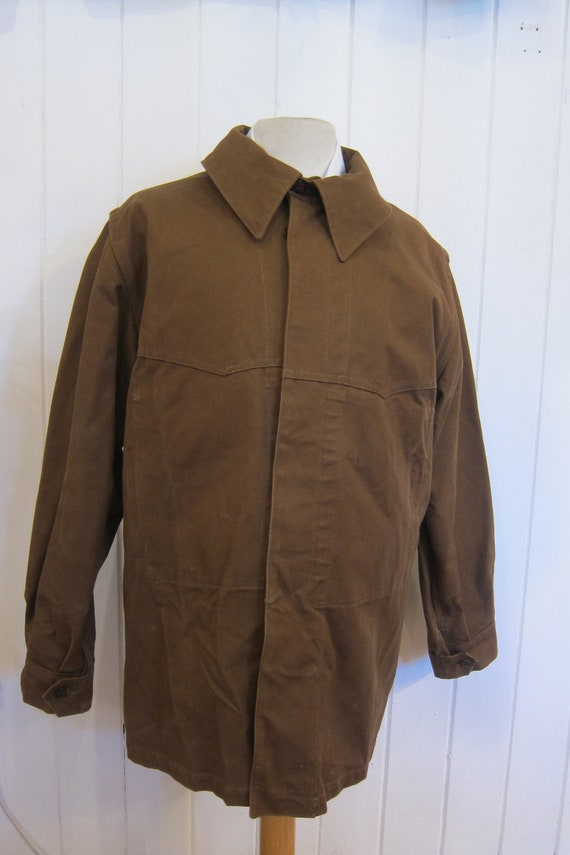 brown french workwear jacket wax cotton chore xl - image 4