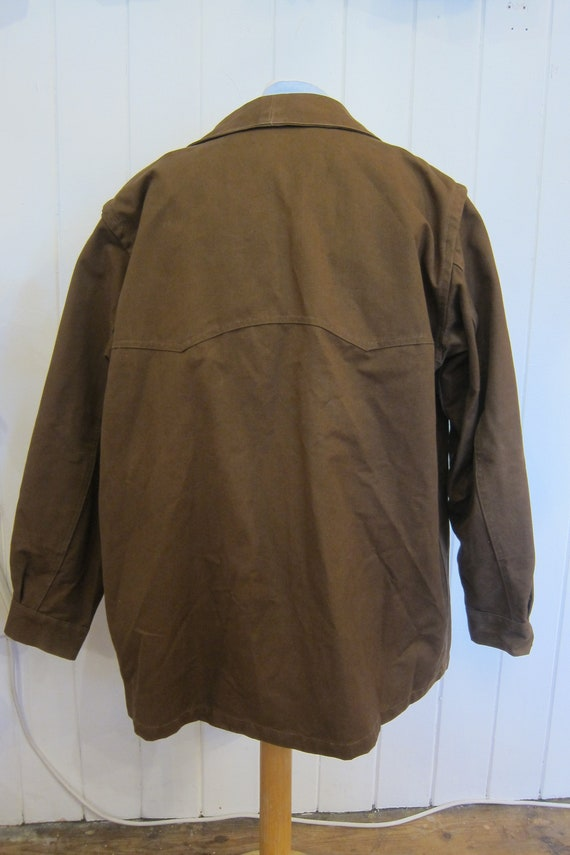 brown french workwear jacket wax cotton chore xl - image 7