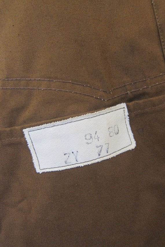 brown french workwear jacket wax cotton chore xl - image 6