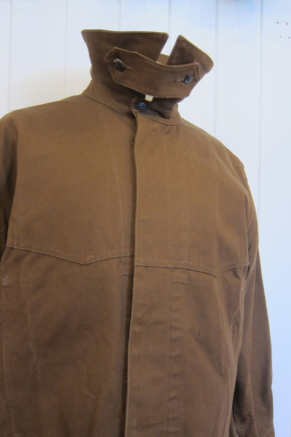brown french workwear jacket wax cotton chore xl - image 3