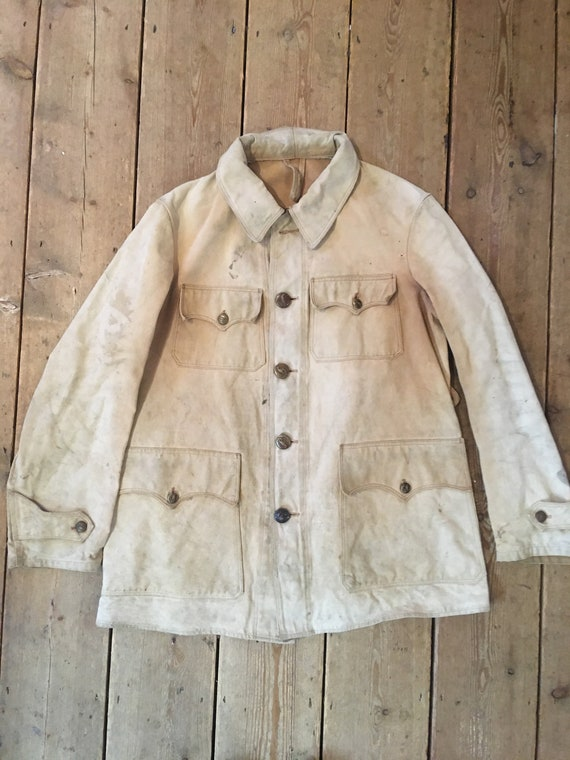 Vintage 1930s French Canvas hunting jacket workwea