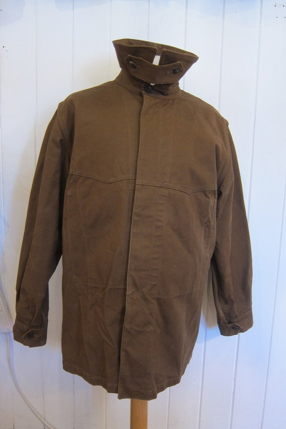 brown french workwear jacket wax cotton chore xl - image 2