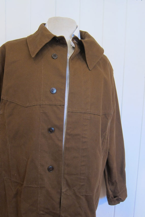 brown french workwear jacket wax cotton chore xl - image 5