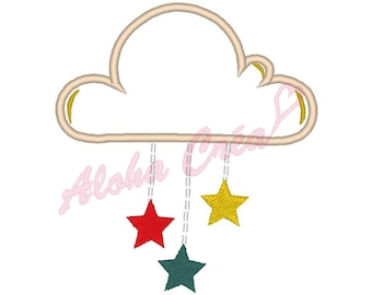 Machine embroidery design applique cloud rain star - instant download