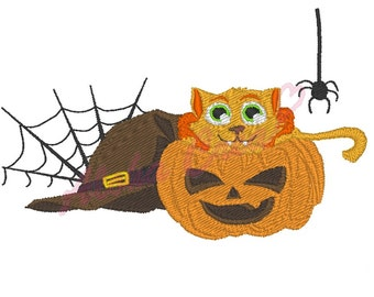 Machine Embroidery Design halloween cat pumpkin - Instant Digital Download