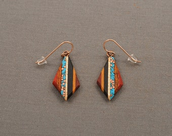 Recycled Copper and Turquoise Teardrop Made From Reclaimed Wood, Rose Gold Ear Wires Hypoallergenic.