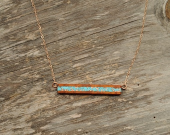 Koa Wood with Turquoise and Recycled Copper Inlay Bar Necklace