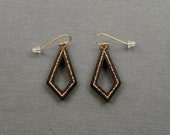 Copper Statement Teardrop Earrings Ebony with Recycled Copper Inlay Unique gift