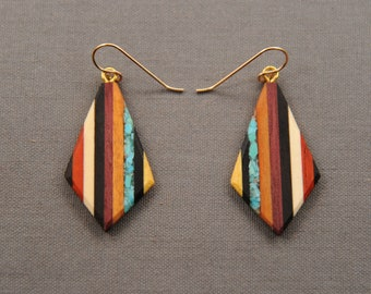 colorful earrings resin earrings dangle earrings natural earrings Wood earrings fun earrings