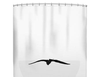 White shower curtain, black and white, bird shower curtain, minimalist shower curtain, white bath mat, white bathroom set, bird decor