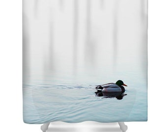 Blue Shower Curtain Bathroom Decor Pale Duck Arty Minimalistwater Nature