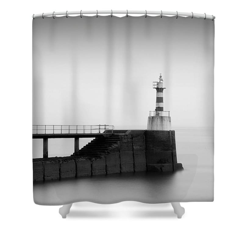 Lighthouse Shower Curtain Bathroom Decor Black And White Grey Nautical Photo Monochrome