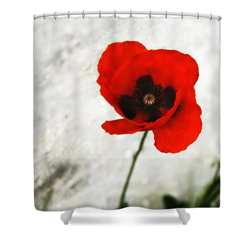Red Shower Curtain Bathroom Decor Floral
